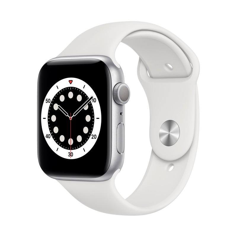 اپل واچ سری 6 مدل 44mm بدنه آلومینیوم به رنگ نقره ای با بند سیلیکونی