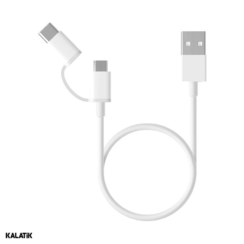کابل تبدیل USB Type-A به Micro USB/USB Type-C شیائومی مدل SJX01ZM به طول 0.3 متر